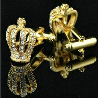 Retail 1 pairs New 2015 Vintage New Stainless Steel Men's Wedding Gift Golden Crown Cufflinks Cuff Links