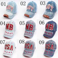 9 Colors New Unisex BOY NB USA Letter Kids Children Hiphop Snapback Adjustable Baseball Caps Hats For Boys&girls Free shipping