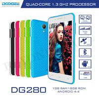 Doogee DG280 Smartphone MTK6582 Quad Core Cellphone 1G RAM 8G ROM 4.5''IPS Screen Dual Camera Android4.4 Original Phone Celulare