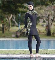 Fashionable Islamic swimsuits For women Plus size Leopard muslim swimwear