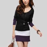 High Quality Elegant Women's Stripe Dress Fashion Long Sleeve Patchwork Dress Black Casual Round Neck Bodycon Vestidos Plus Size