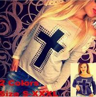 Free shipping 2015 Rivet Cross long sleeve sweatshirts woman hoody casual tops hoodie plus size S-XXL