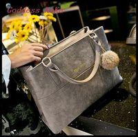 New design 2015 Handbag for women Shoulder bag Matte Hairball Messenger bag for fashion Lady bolsas feminina  pursas Tote HD002