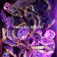 Druzy Pendants 8pcs Gold Plated Edge , Agate Geode Drusy quartz Charms Pendant Finding