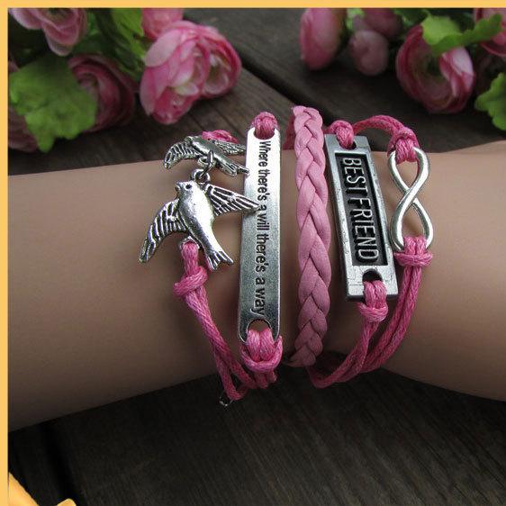 product Pink Leather Retro Romantic Silver Color Dove Word Fashion Unisex Beautiful Wax Flies Women&Men Bracelet Adorn Article 8 CN0111