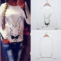 Free Shipping 2015 Women Hoody Spring Autumn Casual Rabbit Printed Sweatshirt Women Hoodies Tops