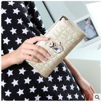 2015 High Quality Korean Little Fox Fashion Long Design PU Leather Purse Muiltfunction Women Wallets