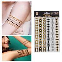 Hot Sale Unisex Metallic Removable Round ChainTemporary Tattoo Stickers Body Art Waterproof Tattoon 65370