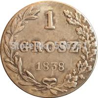 Poland 1838 1 Grosz coins copy Free shipping