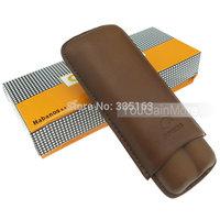 Cohiba Brown Leather 2 Tube Cigar Holder Case Humidor