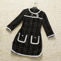 Europe Fashion Clothes Noble Quality Black and White CC style winter   Vintage terry  O-Neck  Dress full  sleevenew women104