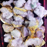 24k Gold plated Edge Druzy ,Geode drusy quartz Pendant in White Color 8pcs