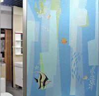No glue static cling polish sea fish classic color window glass film sticker bathroom office kitchen window width60/45cm*100cm
