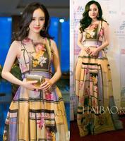 High Quality New 2015 Spring Summer Celebrity Inspired Fashion Women Floral Print Long Red Carpet Dress Graduation Dress Girls