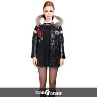 2015 new arrival genuine sheepskin downcoat women winter fur garment fashion natural raccoon fur hooded long coat free shipping