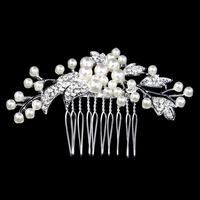 New Austria Crystal Bridal Wedding Tiara Handmade Flower Cream Imitate Pearl Hair Combs Jewelry