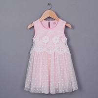 EMS DHL Free shipping little Toddler girls kids Princess Summer Lace Sweet Dress Casual dress Flower Princess dress 2 Colors