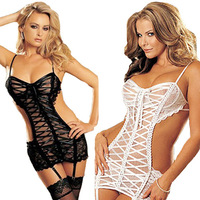 DC071 new women's garter belt mesh lace short skirt with G string sexy costumes lady body suits underwear hot erotic lingerie