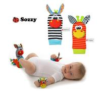 Free shipping Sozzy New Style Baby Educational Toys Garden Bug Wrist Rattle and Foot Socks 2 pcs waist+2 pcs socks