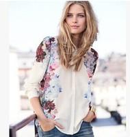 European style Fashion Womens White Print Turn Down Collar Long Sleeve Chiffon Blouse Shirt S M L A0349
