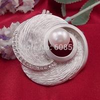 New Matt Silver Swirl Revolving Rhinestone Pearl Female Exaggerated Stunning Polish Brooch Pins, Item No.:  BH7744