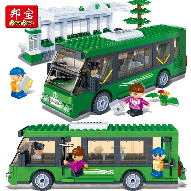 Hot estrondo 372 pcs 3d paragem de autocarro ônibus verde de montagem crianças brinquedos educativos blocos de presente compatível com lego novos(China (Mainland))