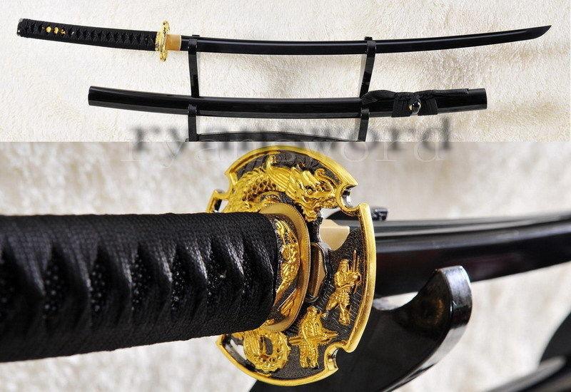 Black Japanese Samurai Sword Katana Damascus Folded Steel Blade Dragon Fittings(China (Mainland))