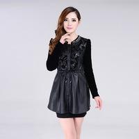 2015 spring new Korean temperament PU leather dress diamond stitching round neck long-sleeved dress women A124