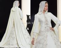 Custom Size New Elegant White/ivory Saudi Arabia Muslim Long Sleeve Bridal Gown High Collar Beading Applique Wedding Dresses