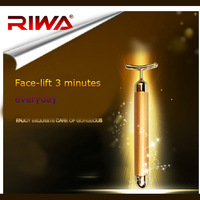 Riwa face-lift tools 24k gold negative ion vibration beauty bar remove eyes bags wrinkle face care massage massager free ship