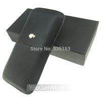 Cohiba Black Leather Classic Cigar Case Holder 3 Tube Tiny Checked Pattern W/Gift Box