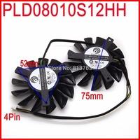 2pcs/lot POWER LOGIC PLD08010S12HH 75mm DC 12V 0.35A 4Pin Dual Fans Replacement Video Card Fan MSI Twin Frozr III