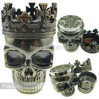 King Skull Metal Tobacco Herb Spice Grinder 3 Piece Crusher Hand Muller