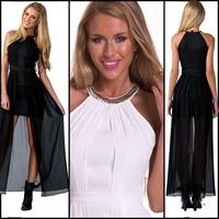 European style Women Fashion Halter Sequined Dress Long Big Pleated White Black Silk Milk Fabric Chiffon Patchwork Party Dresses