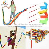 Free Shipping 5pcs/lot 4M Gym Dance Ribbon Rhythmic Art Gymnastic Streamer Twirling Rod Stick,child dancing ribbon stick10 Color