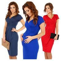 New Fashion 2015 Elegant Celebrity V-neck Short Sleeve mid calf Cotton Casual Bodycon Women Dresses