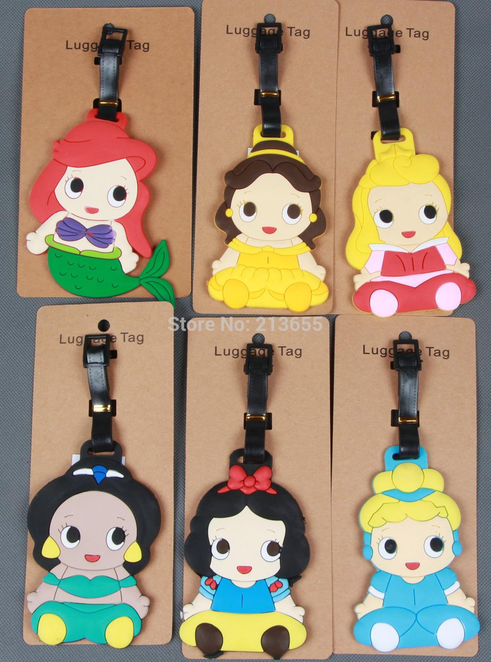 Free shipping 1pcs new arriving popular luggage tags Princess Snow White Aurora Mermaid suitcase bag tag(China (Mainland))