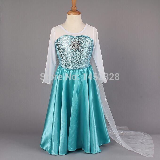 Retailer 2015 Elsa Dress Custom made Movie Cosplay Dress Summer Anna Girl Dress Fashion Princess Elsa Costume for Children 3-7Y(China (Mainland))