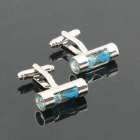 Retail 1 pairs Blue Hourglass Cufflink Sand Clock Glass Timer Sandglass Cuff Link