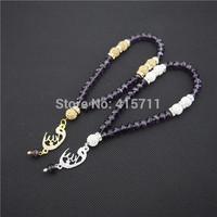 Amethyst Crystal Rondelles  Islamic Muslim Prayer Beads Tasbih 33beads Allah Misbaha Sibha   L150113010