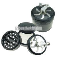 "4pc2.5"" 4pc Aluminum Hand Crank Herb Tobacco Spice Grinder Crusher Black"