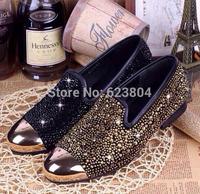 2015 Brand High quality Men's Luxury  Shinny Men gold rhinestone flat gold metal toe slip on casual shoes for men