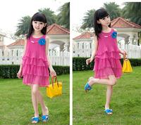 2015Summer flower Girls Dresses Children's Fashion mini Princess Dress kids chiffon Layered Dress sleeveless dacing dress Q10