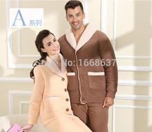 New Winter Shallow Men's Coral Fleece Pajamas Cotton Casual Men Sleepwear Thicken Lamb Velvet Suit Sleepwear (China (Mainland))