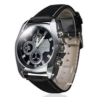 Watch strap watch fashion male form can be printed logo strong durable waterproof leather men watch watches