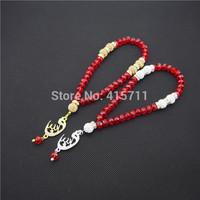 Red Ruby Crystal Rondelles  Islamic Muslim Prayer Beads Tasbih 33beads Allah Misbaha Sibha   L150113016