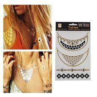 Hot Sale Unisex Metallic Removabl Necklace+Bracelet Temporary Tattoo Stickers Temporary Body Art SWaterproof Tattoo