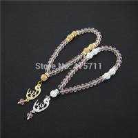 Pale Pink Crystal Rondelles  Islamic Muslim Prayer Beads Tasbih 33beads Allah Misbaha Sibha   L150113022