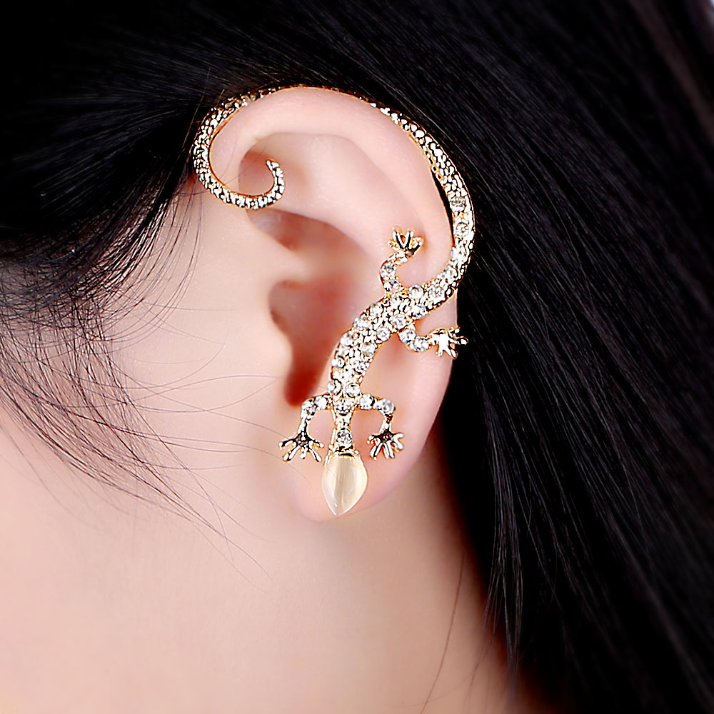 Imitation Diamond Rose Gold Silver Earrings Exaggerated Lizard ES719 Hot New Fashion Popularity Cuff Clip Jewelry Wholesales(China (Mainland))