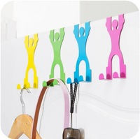 Cute Cartoon Humanoid Back-Door Robe Hooks Creative Traceless Clothes Hanger Hook Free Nail Hook Hangers 5 Pieces/Lot